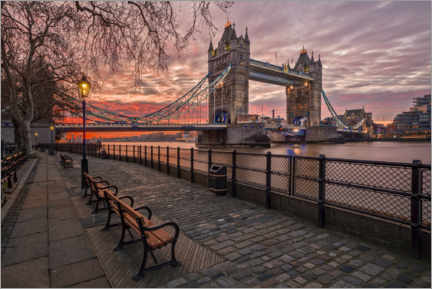Premium poster Tower Bridge in the sunset glow