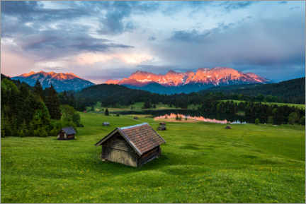 Canvas print  Huts in front of the Karwendel Mountains - Arnold Schaffer