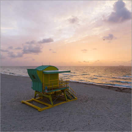 Premium poster  Lifeguard tower at sunset, Miami - Matteo Colombo
