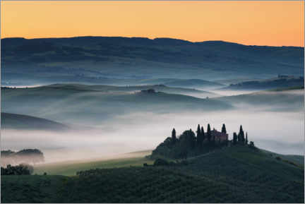 Premium poster Fog morning in Tuscany