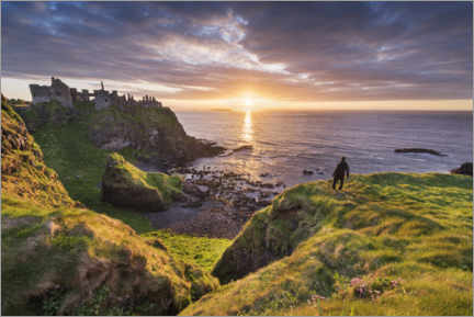 Premium poster Wanderer looks out over Ireland's coast