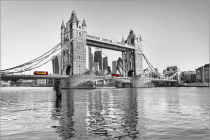Gallery print  Red bus on Tower Bridge in London - Dieter Meyrl
