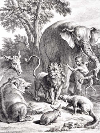 Premium poster  The lion who wanted to go to war - Jean-Baptiste Oudry
