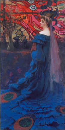 Premium poster  Woman in front of a glass window (the peacock) - Kazimierz Stabrowski
