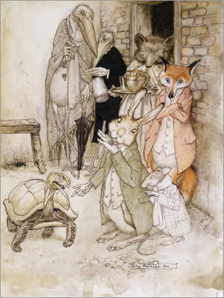 Foam board print  The hare and the turtle - Arthur Rackham