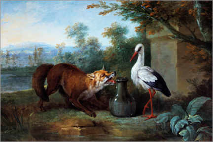 Premium poster  The fox and the stork - Jean-Baptiste Oudry