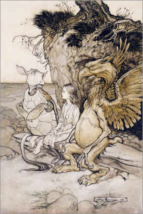 Premium poster  Alice and the mock turtle - Arthur Rackham