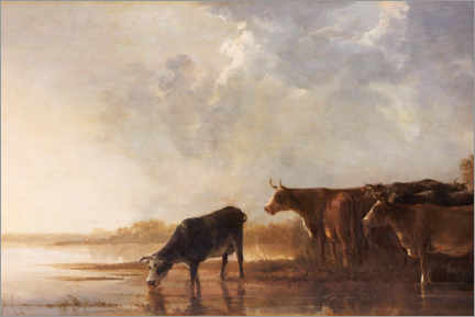 Wood print  River landscape with cows - Aelbert Cuyp