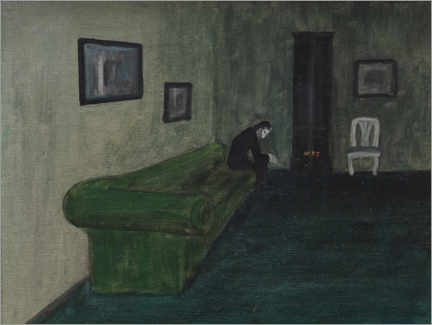 Wood print  Interior with a seated figure - Robert Storm Petersen