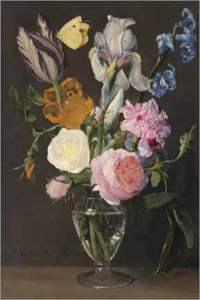 Wood print  Roses, tulips, irises and other flowers - Daniel Seghers