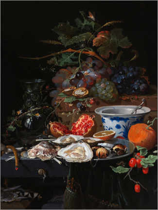 Premium poster Still life with fruits and oysters
