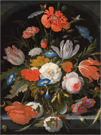 Aluminium print  Flowers in a glass vase with snails and insects - Abraham Mignon