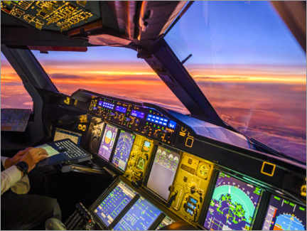 Premium poster  A380 cockpit at dusk - Ulrich Beinert