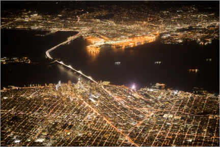 Foam board print  San Francisco & Oakland at night - Ulrich Beinert