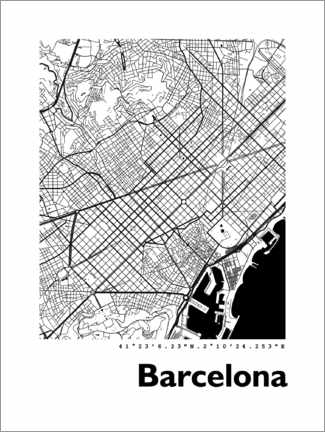 Canvas print  Map of Barcelona - 44spaces