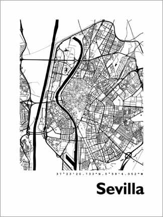 Wood print  Map of Seville - 44spaces