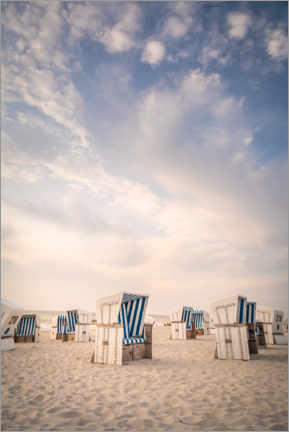 Wall sticker  Blue and white - beach chairs and sky on Sylt - Christian Müringer