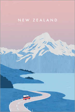 Aluminium print  Illustration of New Zealand - Katinka Reinke