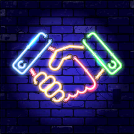 Gallery print  Shaking hands - neon sign - TAlex