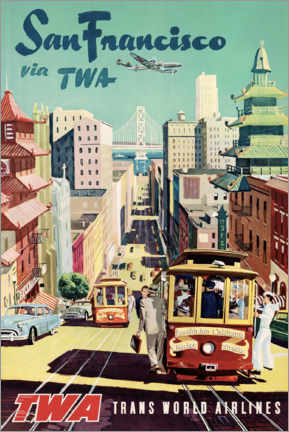 Aluminium print  San Francisco via TWA - Travel Collection