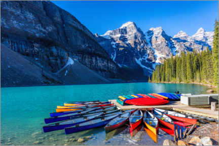 Premium poster Canoes on Moraine Lake, Canada