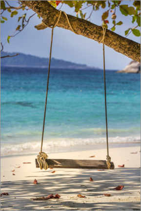 Canvas print  Wooden swing on the sandy beach - Uwe Merkel