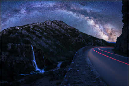 Premium poster  Milky Way over panoramic road - Matthias Köstler