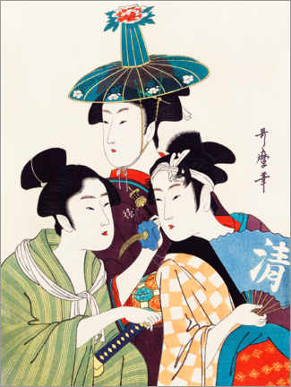 Aluminium print  Three young men or women - Kitagawa Utamaro