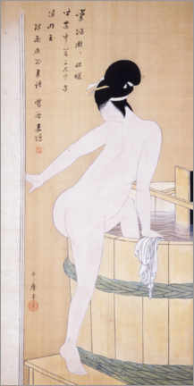 Wood print  Bathing in cold water - Kitagawa Utamaro