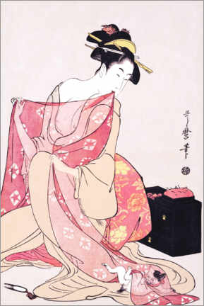 Aluminium print  Woman and a cat - Kitagawa Utamaro