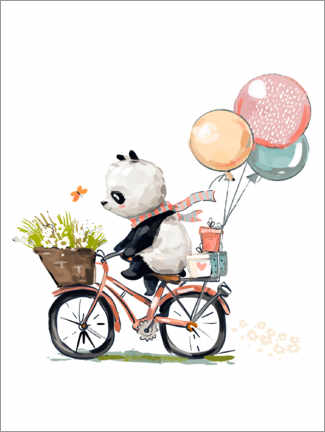 Foam board print  Panda on a Bike - Kidz Collection