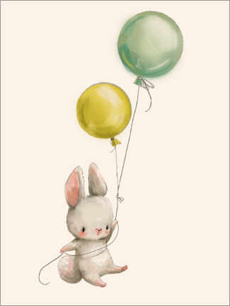 Foam board print  Bunny with Balloons - Kidz Collection