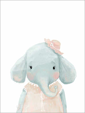 Wood print  Miss Elephant - Kidz Collection