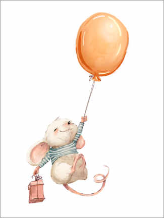 Wood print  Mouse with a Balloon - Kidz Collection