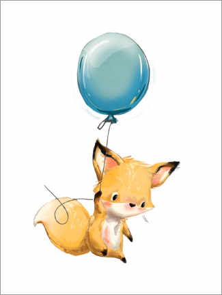 Premium poster Little fox with balloon
