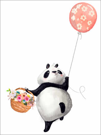 Premium poster Panda bear with balloon