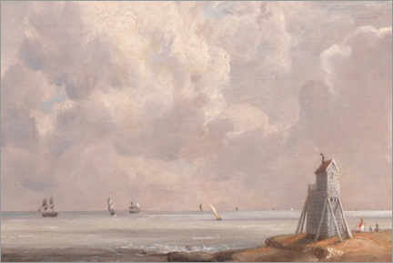 Wood print  Harwich, the Low Lighthouse and Beacon Hill - John Constable