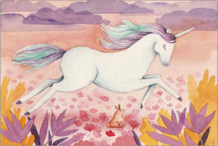 Wood print  Galloping Unicorn - Michelle Beech