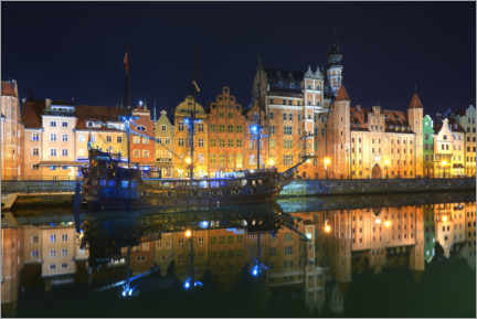 Premium poster  Gdansk at night - Rafal Kaniszewski