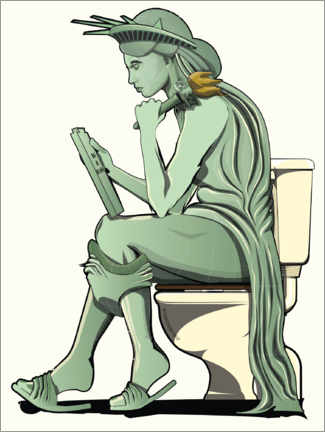 Premium poster Statue of Liberty on the toilet