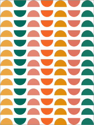 Aluminium print  Semicircles up and down - apricot and birch