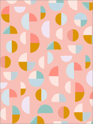 Acrylic print  Candy Geometry - apricot and birch