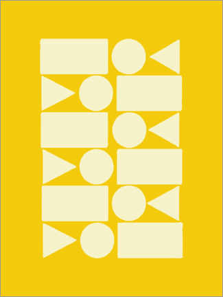 Canvas print  Geometry in sun yellow - apricot and birch