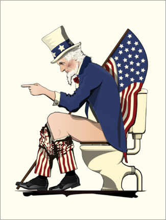 Premium poster Uncle Sam on the toilet
