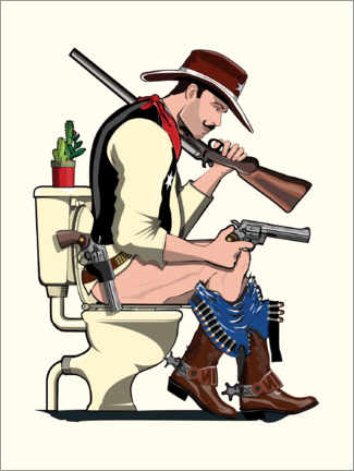 Canvas print  Cowboy on the toilet - Wyatt9