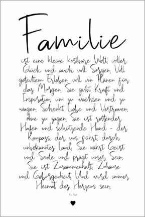 Premium poster  Family - a poem (German) - Ohkimiko