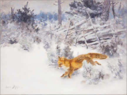 Premium poster Fox in the winter landscape