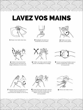 Premium poster Wash hands (French)
