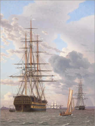 Wall sticker  Azov and a frigate moored off Helsingor - Christoffer Wilhelm Eckersberg