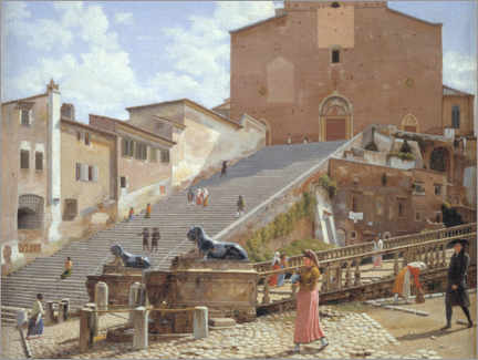 Foam board print  Marble stairs at the Santa Maria church in Aracoeli - Christoffer Wilhelm Eckersberg